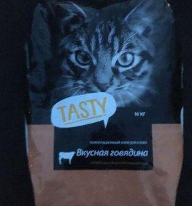 Сухой корм для кошек Tasty c говядиной. 10 кг