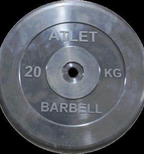 Диск обрезиненный черный MB atlet d-26 20кг в Орле