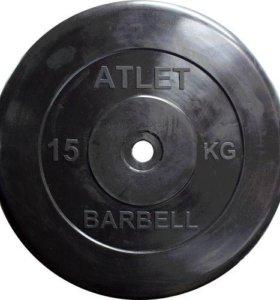 Диск обрезиненный черный MB atlet d-26 15кг в Орле