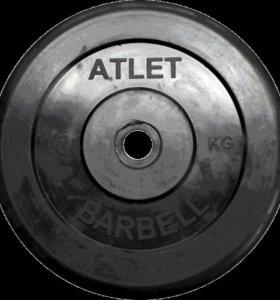 Диск обрезиненный черный MB atlet d-26 10кг в Орле