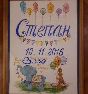 Метрика-постер для малыша