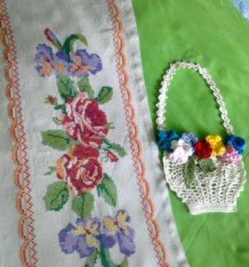 Салфетка вышитая, корзиночка с цветами  крючком