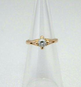 Золотое кольцо с бриллиантом 583п СССР 0,17 карат