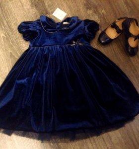 Бархатное , синее платье Некст