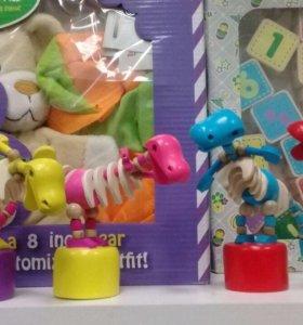 Дергунчик Динозавр( деревянная игрушка)