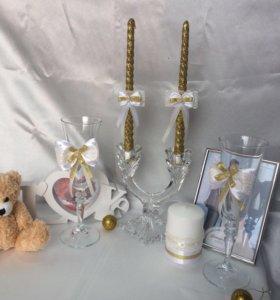 Свадебный набор в золотом цвете .