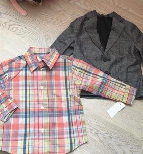 НОВЫЕ nautica пиджак и рубашка на 98 рост (3 года)
