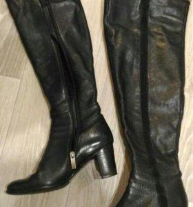 Сапоги ботфорты кожаные 37