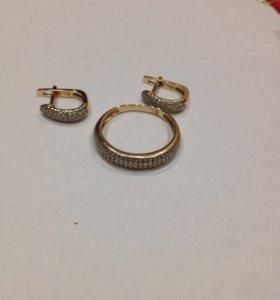 Женское кольцо ,Серьги. SUNLIGHT