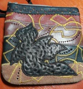 Сумка кошелёк из натуральной кожи