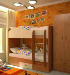 Новая двухъярусная кровать с ящиками
