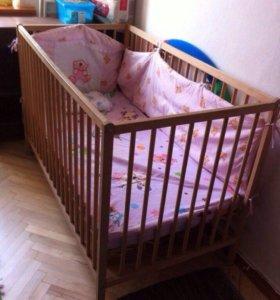 Детская кровать+матрас+бортики