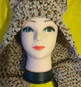 Шарф - шапка с ушками и кармашками