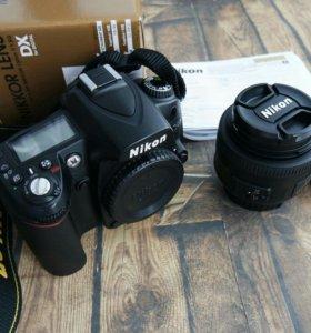 Зеркалка Nikon D90 body, объектив 35mm f/1.8G
