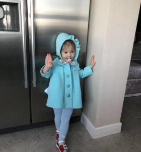 Пальто детское и шапка в комплекте