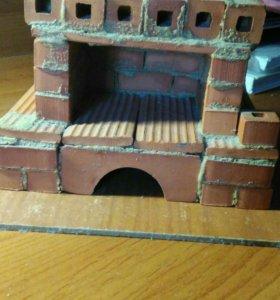 Миниатюрная печка,игрушка из кирпича.