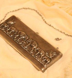 Дореволюционная театральная сумка клатч из серебра