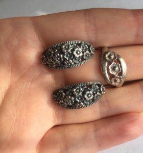 Серьги и кольцо серебряные СССР, комплект
