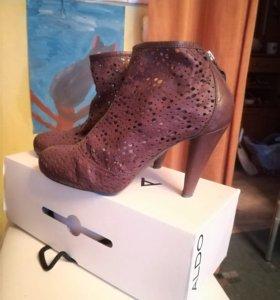 Ботинки на каблуке кожа с молнией и перфорацией 38