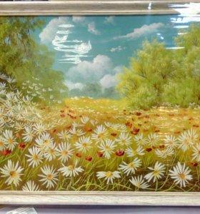 Картина маслом. Ромашковое поле.
