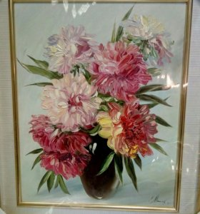 Картина маслом. Хризантемы.
