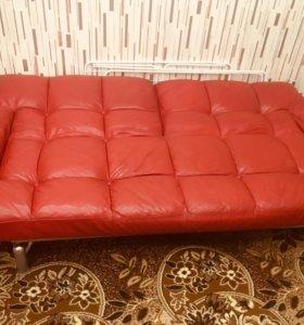 Раскладной диван и кресло кожаный