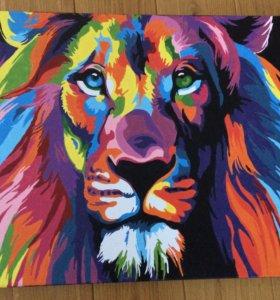 Картина поп-арт лев