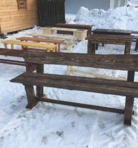 Скамейка со старением и столы