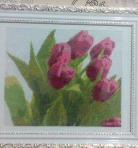 Картина крестиком Тюльпаны