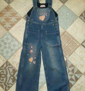 Комбинезон джинсовый тёплый 98р.