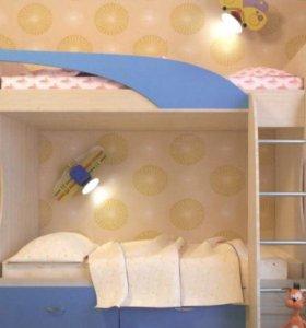Детская кровать 2-х ярусная Беби-2 синяя