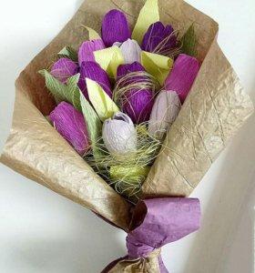 Букет из конфет. Фиолетовые тюльпаны.