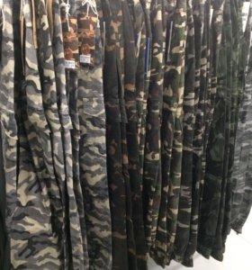 Модные стильные защитного цвета штаны (Хаки)