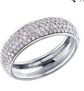 Кольцо 134 бриллианта,4 грамма,белое золото