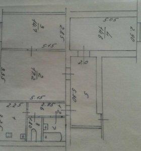 Квартира, 3 комнаты, 70.1 м²