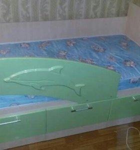 Дет. кровать Дельфин МДФ 1,6