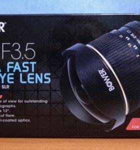 Объектив рыбий глаз (fish-eye) bower 8mm F3.5