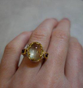 Новое кольцо с пренитом турмалиновым и аметистам