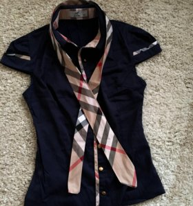 Женская рубашка темно-синяя с галстуком ,р 42