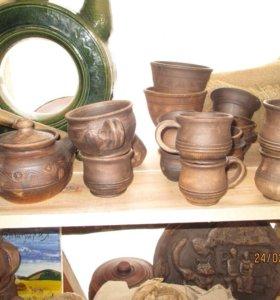 Горшки чашки кувшины тарелки фляги керамика