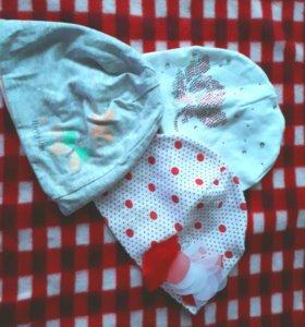 Шапочки для девочки 6-12 месяцев