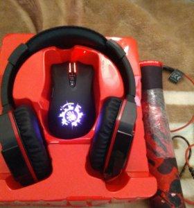 Игровой набор Bloody ушиG500 + мышь V 9C + коврик