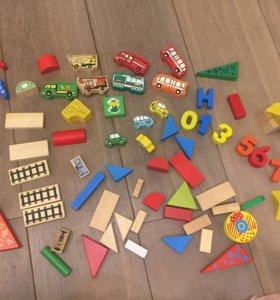 Кубики деревянные и фигурки
