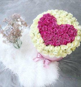 Сердце из роз в коробке с доставкой