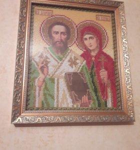 Вышивка (икона Киприян и Устинья)
