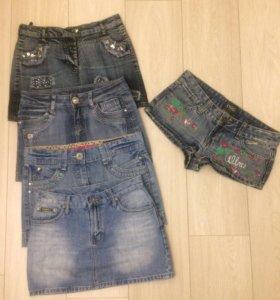 Юбки джинс и шорты
