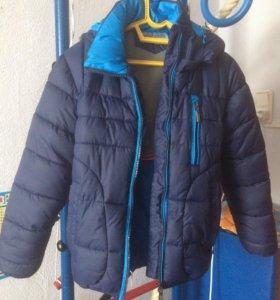 Куртка зимняя на мальчика очень тёплая . Рост 128