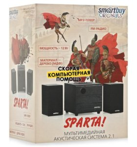 Колонки SmartBuy Sparta AUX+USB+FM(2x2W+Саб 8W