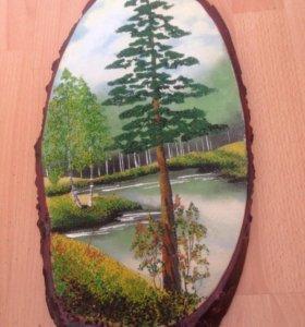 Картина деревянная с каменной крошкой