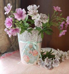 Кашпо для цветов (подарок, ручная работа, декупаж)